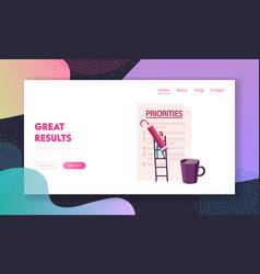 businesswoman character organize priorities vector image