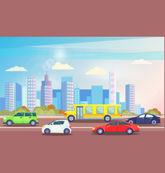 busy traffic road with colorful cars cityscape vector image