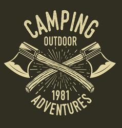 Camping vintage axe adventure outdoor logo 28 vector