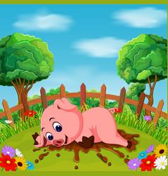 Cartoon happy pig smile in the farm vector