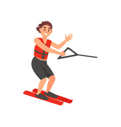 cheerful male athlete on water skiing active vector image
