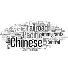 Chinese immigrants and iron road vector