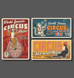 circus tent acrobat and monkey juggler vector image