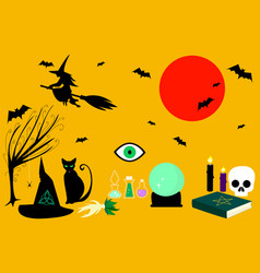 Collection witches tricks vector