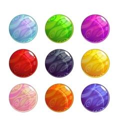 Colorful glassy magic balls set vector
