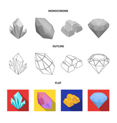 Crystals iron ore precious minerals and a vector