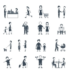 Daily Life Flat Icon Set vector image