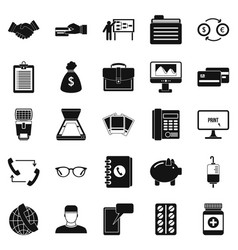 Division icons set simple style vector