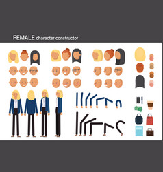 Female character constructor for different poses vector