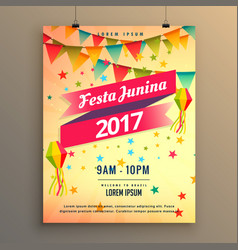 Festa junina party celebration poster design with vector