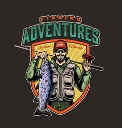 fishing colorful logo vector image