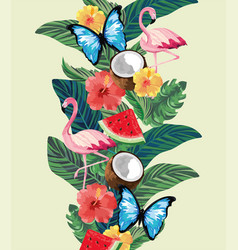 flamingos with butterflies and tropical plants vector image