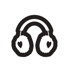 Flat icon in black and white earmuffs vector