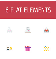 flat icons card engagement present and other vector image