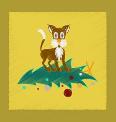 Flat shading style icon christmas tree cat vector