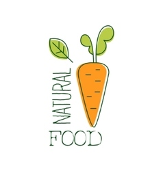 Fresh Vegan Food Promotional Sign With Raw Carrot vector image