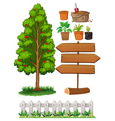 Gardening items with tree and fence vector image