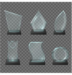 glass trophy award realistic vector image
