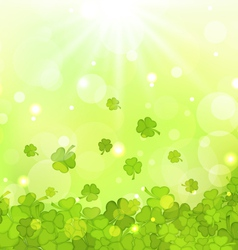 glowing background with shamrocks for St Patricks vector image