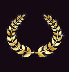 golden laurel wreath with glitter specks light vector image