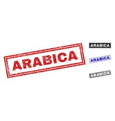 Grunge arabica scratched rectangle stamp seals vector