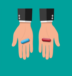 hands with blue and red capsule pills vector image