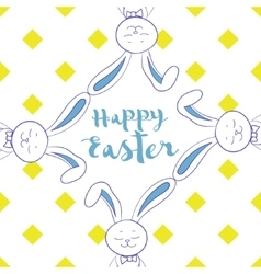 Happy easter poster frame from hare ear vector image