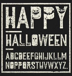 Happy halloween decorative alphabet grunge stamp vector