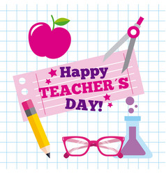 Happy teacher day card greeting celebration vector