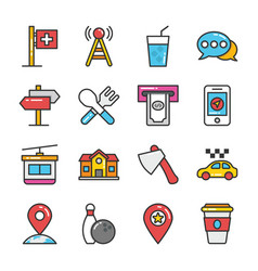Hotel and travel colored icons set 9 vector