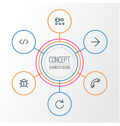 Interface outline icons set collection of bug vector