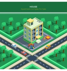 Isometric City Landscape With Apartment House vector