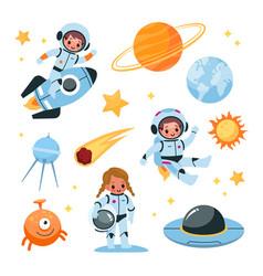 Kids space elements collection astronaut children vector