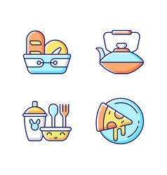 Kitcken dinnerware rgb color icons set vector