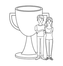 Love couple cartoon in black and white vector