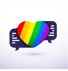 love talk chat dating lgbt rainbow heart shape vector image