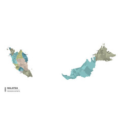 Malaysia higt detailed map with subdivisions vector