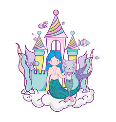 Male mermaid and burrmain with castle vector
