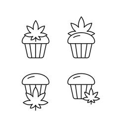 marijuana or cannabis cake icons set linear logo vector image