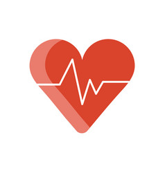 Medical heart cardiology pulse flat icon vector