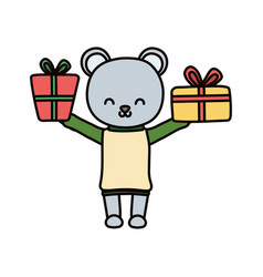 Merry christmas celebration cute bear with sweater vector