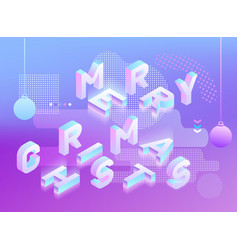 Merry christmas neon holographic memphis style vector