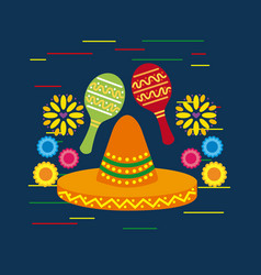 Mexican sombrero hat and maracas shakers flowers vector
