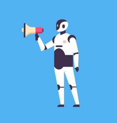 Modern robot holding megaphone loudspeaker vector