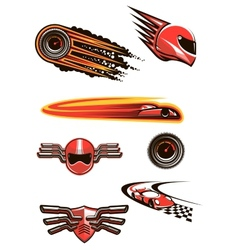 Motorcycle and car racing symbols vector image
