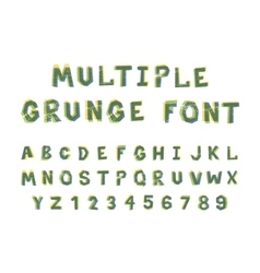 Multiple bright colors grunge font alphabet on vector