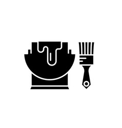 paint and brush black icon sign on vector image