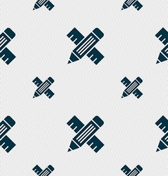 Pencil with ruler icon sign seamless pattern with vector