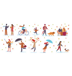 People in autumn park characters in fall vector