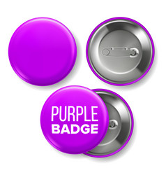 purple badge mockup pin brooch purple vector image